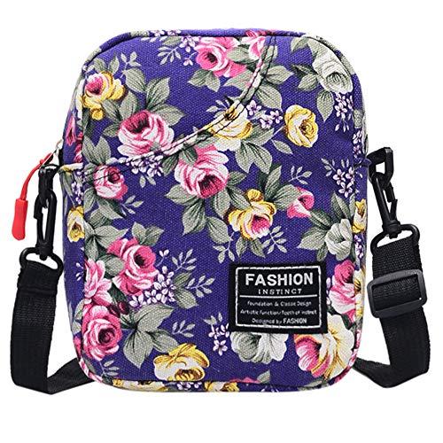 0miaxudh borsa a tracolla, borsa a mano con cerniera per borsa a tracolla in tela a fiori con stampa floreale a fiori purple