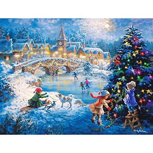 New 5D DIY Handmade Christmas Night Design Round Diamond Embroidery Painting Rhinestone Cross-Stitching Set Mosaic Home Room Decoration Best Gift 30 * 40 cm / 11.81 * 15.75 in