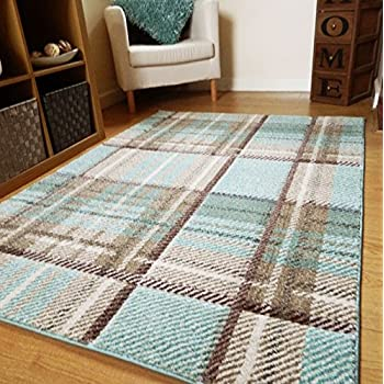 Small Large Duck Egg Blue Modern Soft Thick Tartan Highland Check Rugs Long  Hall Runner Mats (5 Sizes Available) (120x170cm)