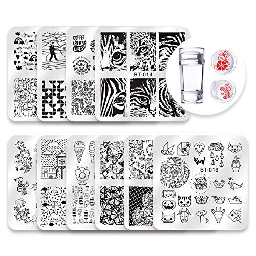 Biutee Set di Nail Art Stamping 10pcs Nail Template Piastra per Unghie+ 1pcs Raschietto+1pcs Stamper Per manicure (decorazione delle unghie con foglie, fiori, animali)