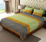 Home Candy 144 TC Stripes Cotton Double Bedsheet with 2 Pillow Covers - Multicolor