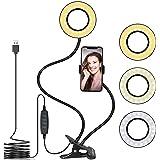 "Tukzer 3.5"" LED Selfie Ring Light with Phone Holder |Flexible Arm Desk Mount Clamp for Live Stream, Makeup, Online Meetings,"