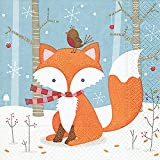 Lunch Servietten Serviette 33 x 33 cm (Little friend) Fuchs Geburtstag Kinder Party Weihnachten Winter Schnee Tiere Wald Schneemann Merry Christmas