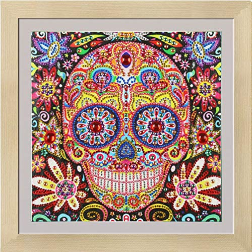 Wenwenzui Special Shaped Diamond Painting Colorful Skulskull Diamond Crafts Decor Multicolor