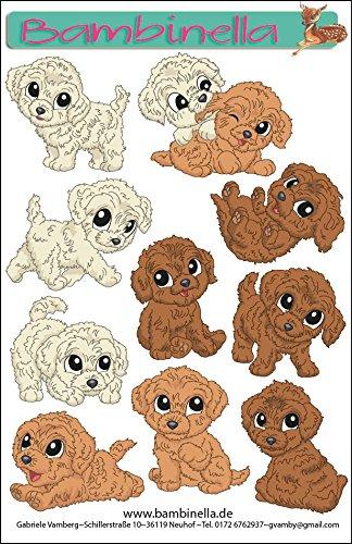 Bambinella® Stickerparade - 10 Sticker auf 1 Blatt von ca. DinA6 - Motiv: Pudel Hund - Made in eigener Werkstatt in Germany
