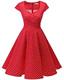 bbonlinedress 1950er Vintage Retro Cocktailkleid Rockabilly V-Ausschnitt Faltenrock Red Small White Dot M