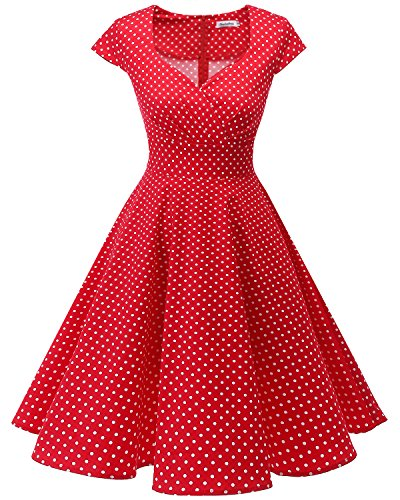 bbonlinedress 1950er Vintage Retro Cocktailkleid Rockabilly V-Ausschnitt Faltenrock Red Small White Dot (1950er Jahre Kleider Kostüm)
