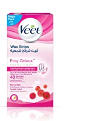 Veet Hair Removal Cold Wax Strips Normal Skin 40 Count