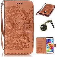 PU Carcasa de silicona teléfono móvil Painted PC Case Cover Carcasa Funda De Piel Caso de Shell cubierta para smartphone (Samsung Galaxy S5Mini (4,5pulgadas) + Polvo Conector