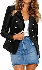 Junjie Frauen Geschäfts Mantel, Blazer-Klage-langärmlige Oberseiten-dünne Jacke Outwear Größe Größe Sweatshirt Bluse Arbeit Rüschen Patchwork T-Shirt Elegant S-6XL