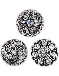 Morella® Damen SMALL Click-Button Set 3 Stück Druckknöpfe 12 mm Ø Lotus und Ornament Muster mit Zirkoniasteinen
