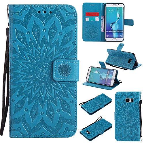 Bear Village Funda Samsung Galaxy S6 Edge Plus, Cuero Fundas con [Garantía de por Vida], Protección De Cuerpo Completo Carcasa Case Cover para Samsung Galaxy S6 Edge Plus (#6 Azul)