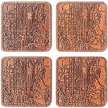 Kyoto Mappa della città Sottobicchiere, set di 4 sottobicchieri in legno Sapele con mappa della città, fatto a mano