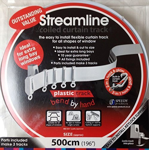5m BENDABLE CURTAIN TRACK FOR STRAIGHT & BAY WINDOW RAIL Enough for 3 Standard Windows, Top or Face Fix all Fixings by Speedy