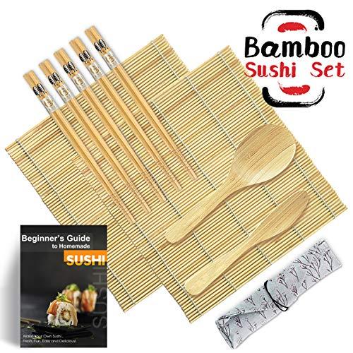 Bambus-matte (DYFFLE Sushi Set, 10 Teile - Sushi Maker Set für Anfänger, Sushi Selbst Machen Set (2 Sushi Matte+1 Reisstreuer+1 Paddy Paddel+5 Stäbchen+1 Anweisungen))