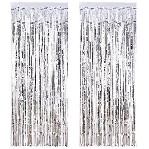 aste Folie Vorhang Metallic,Folie Fransen Vorhänge Tür, Lametta Vorhang dekorative,Für die Partyhochzeit Dekoration (Silber) ()