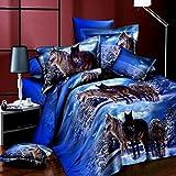 dDanke 3d Animal Imprimé Cool Snow Loups Parure de lit 4pièces pour lit double...