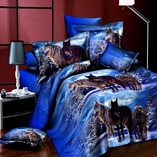 dDanke 3d Animal Imprimé Cool Snow Loups Parure de lit 4 pièces pour lit double 1.8 m (inclus 1 Housse de couette 1 drap de lit + 2 Taie d'oreiller)