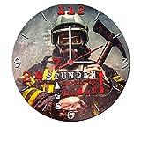 Stylische Wanduhr mit geräuscharmen Quarzuhrwerk (24 Stunden 7 Tage Leben am Limit!) 25 cm Feuerwehr für Stylische Wanduhr mit geräuscharmen Quarzuhrwerk (24 Stunden 7 Tage Leben am Limit!) 25 cm Feuerwehr