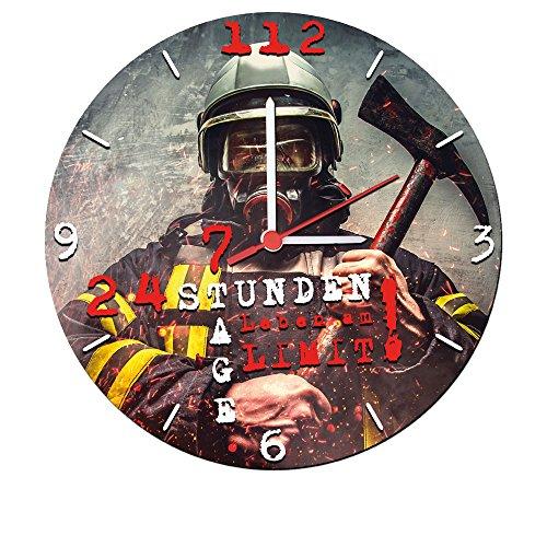 feuerwehr wanduhr Stylische Wanduhr mit geräuscharmen Quarzuhrwerk (24 Stunden 7 Tage Leben am Limit!) 25 cm Feuerwehr