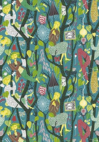 Stig Lindberg 1756 Vliestapete Phantasiemotiv Menschen Tiere Bäume bunt auf türkis-blau
