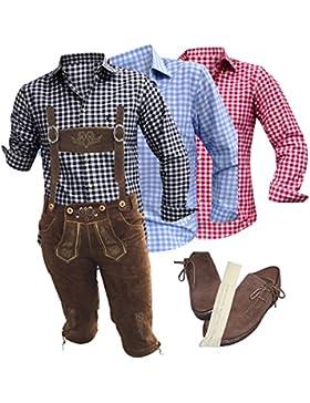 Trachten-Set komplett für Herren 5-teilig Echte Lederhose (Kniebund, braun mit uriger Stickerei), kariertes Hemd...