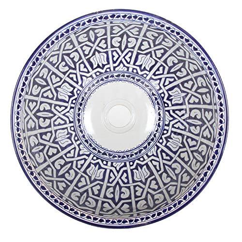 Mediterrane Keramik-Waschbecken Fes92 rund Ø 40 cm bunt Höhe 18 cm Handmade Waschschale | Marokkanische Handwaschbecken Aufsatzwaschbecken für Bad Waschtisch Gäste-WC | Einfach schöner Wohnen