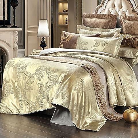 Tinksky 4pieces estilo europeo de ropa de cama Fundas de Edredón jacquard indio de raso para 1,51,8metros
