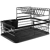Egouttoir Vaisselle Cuisine Rangement Évier: Égouttoir Vaisselle Métal à 2 Niveaux - Support Ustensiles Comptoir Ensemble d'O