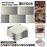 Acepunch 8 Stücke WEISS UND GRAU Kombination Pyramide Akustikschaumstoff Schallschutzisolierung Studio Fliesen Mit freien Klebestreifen 50 x 50 x 5 cm AP1034