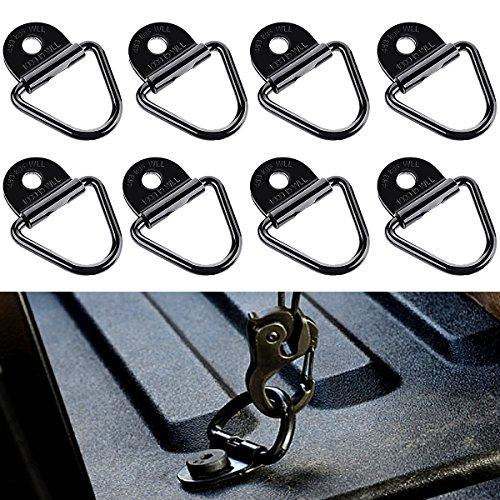 """8PCS 2 """"diámetro de acero negro V-Ring BoltOn Anclaje de anclaje de carga de remolque, reemplazo de D-Ring de montaje enrasado de plástico montaje de montaje de la cazoleta para remolques, camiones y almacenes midiendo 2-1 / 8 """"x 2"""".Cada uno con una..."""