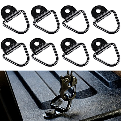 Audew V-Rings Gancho para la sujeción de la Carga en los Coches de Kayak y remolques adecuados, incluidos los Soportes, 3.15 * 2.28 in 8 Piezas