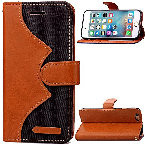 iPhone Case Cover IPhone 7 Case, couleur mixte Wave Pattern Housse Housse Jeans PU Cuir Retro Folio Housse Stand Silicone Avec Cash Card Slots Pour iPhone 7 ( Color : Black , Size : IPhone 7 ) Black