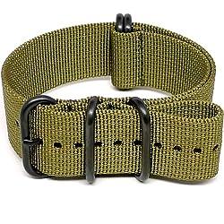 DaLuca Ballistic Nylon NATO Watch Strap - Olive (PVD Buckle) : 22mm
