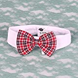 VANKER Ajustable Collar para perro apacible del cuello pajarita corbata del perro del gato Accesorios -- Rejilla rojo grande