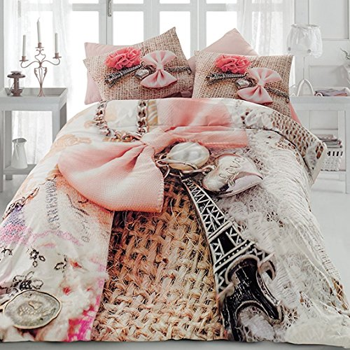 Original Bettwäsche-Set, 3D-Design niedlicher Eiffelturm Paris Rose, Doppelte Größe, 100% Baumwolle, 4-Teilig (Bettbezug + Flachbettlaken + 2 Kissenbezug) Paris Eiffelturm Bettwäsche