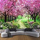 Weaeo Benutzerdefinierte 3D Fototapete Blume Romantische Kirschblüten Baum Kleine Straße Wandbild Tapeten Für Wohnzimmer Schlafzimmer-120X100Cm