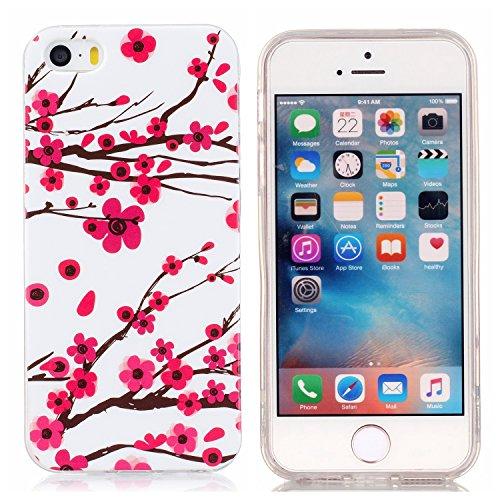 Voguecase Pour Apple iPhone 5 5G 5S SE, Noctilucent TPU avec Absorption de Choc, Etui Silicone Souple, Légère / Ajustement Parfait Coque Shell Housse Cover pour iPhone 5 5G 5S SE (Aquarelle chat)+ Gra Plum fleur 18