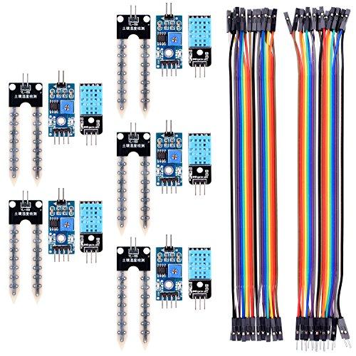 Für Arduino Raspberry pi 3 PI 2 3 RPI 1 Modell B + B, Kuman 5PCS Boden Hygrometer Luftfeuchtigkeit Detektor Modul und 5 PCS Temperatur Feuchtigkeits prüfung Bodenfeuchtesensor mit 20PIN Female to Female DuPont Jump Cable 20PIN Male to Female jump Wires KY71 (Female Model Kit)