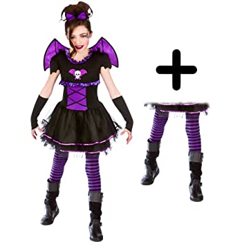 batty vampire ballerina tights girls fancy dress kids halloween childs costume large ages 8 10 years