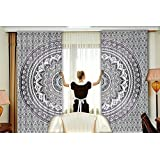 Art Indian Ombre Mandala Hippie Curtains Bohemian Psychedelic Window Curtain Indian Drape Handmade Curtain Panel (Grey)