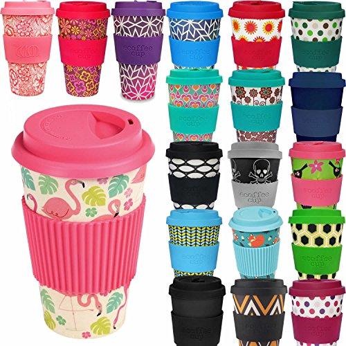LS Design Öko Cup 400ml Coffee to Go Becher Bamboo Bambus Cup Silikonring BPA frei Flamingo Bay
