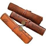 Fablcrew - Astuccio in pelle per matite, stile retrò, per studenti (colore casuale), modello a rullo