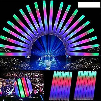 FineInno Palos de Luz Light Stick Bastones Luminoso Glow Sticks Varitas Luminosas Fluorescentes Palo de Espuma Palos de Goma Multicolor Tres Modos, Seguro y Duradero de FineInno