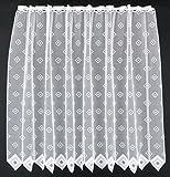 Scheibengardine Quadrate 110 cm hoch | Breite der Gardine durch gekaufte Menge in 11,5 cm Schritten wählbar (Anfertigung nach Maß) | weiß | Vorhang Küche Wohnzimmer
