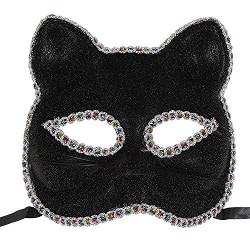 PromMask Masken Gesichtsmaske Gesichtsschutz Domino falsche Front Venedig Maske Weihnachten Halloween Maske Katze Gesicht Gemalt Maske Schwarz