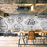 HONGYAUNZHANG Einfache Retro Bar Benutzerdefinierte Fototapete 3D Stereoskopischen Wand Wohnzimmer Schlafzimmer Sofa Hintergrund Wandmalereien,170Cm (H) X 250Cm (W)
