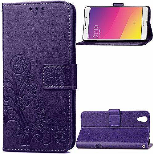 Kihying Hülle für Oppo R9 / Oppo F1 Plus Hülle Schutzhülle PU Leder Flip Wallet Fashion Geschäft HandyHülle (Lila - SD04)