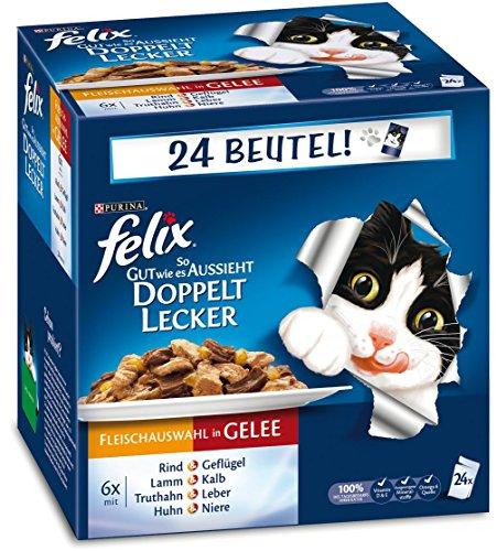 Felix-So-gut-wie-es-aussieht-Katzenfutter-Doppelt-lecker-Fleisch-Mix4er-Pack-4-x-24-x-100-g-Beutel