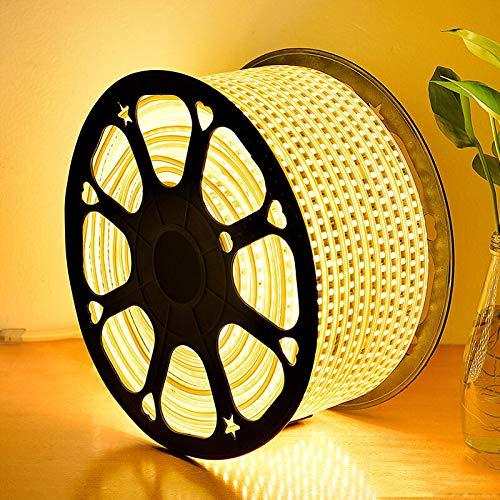 GreenSun LED Lighting LED Stripe SMD 5050 Band LED Streifen LED Lichtleiste LED Bänder Lichterkette Wasserdicht IP65, mit 23 Tasten Fernbedienung RF Controller, Warmweiß, 30m -
